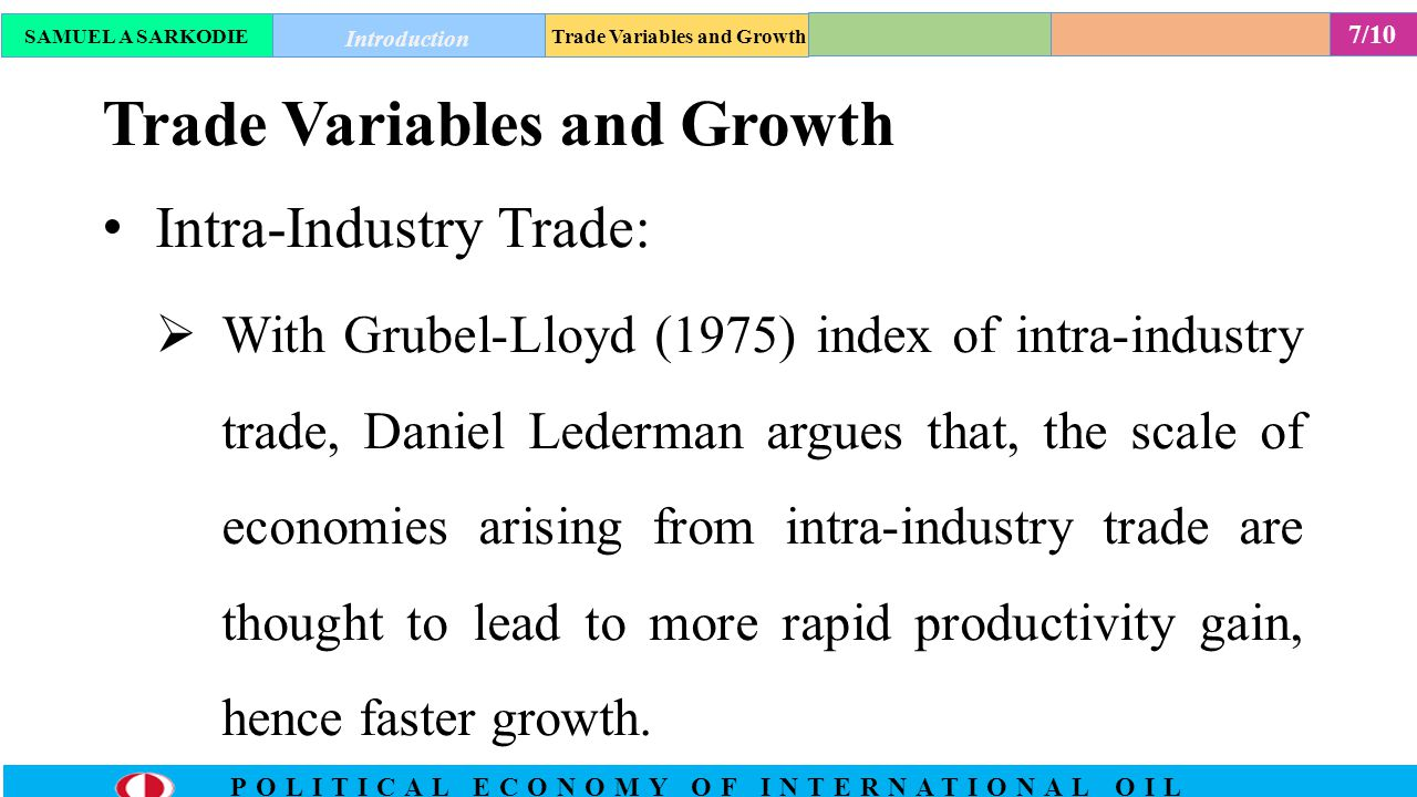 8/10 POLITICAL ECONOMY OF INTERNATIONAL OIL Estimation and Results Findings from Lederman's statistical estimation suggests that, trade variable related to natural resource abundance, export concentration, and intra-industry trade affect growth with is in contrast with already existing conventional wisdom in literature.