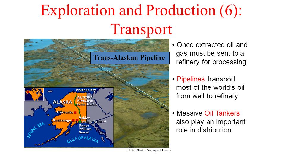 Exploration and Production (6): Transport United States Geological Survey Once extracted oil and gas must be sent to a refinery for processing Pipelin