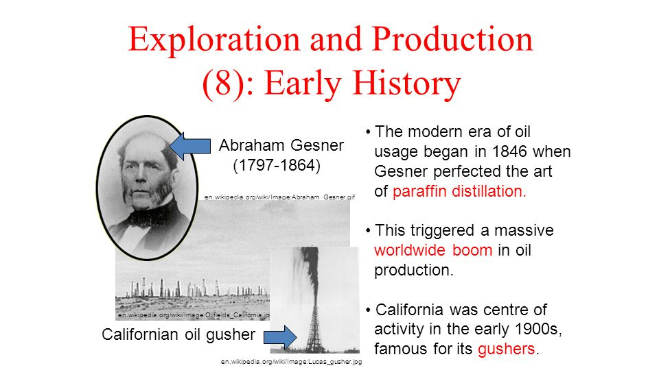 Exploration and Production (8): Early History en.wikipedia.org/wiki/Image:Abraham_Gesner.gif en.wikipedia.org/wiki/Image:Oilfields_California.jpg Abra