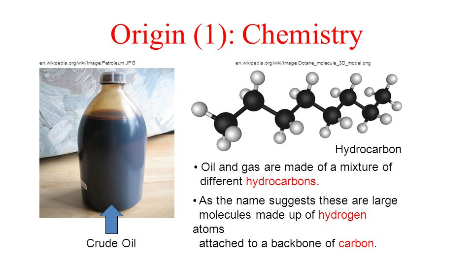 Origin (1): Chemistry Crude Oil Hydrocarbon en.wikipedia.org/wiki/Image:Octane_molecule_3D_model.png en.wikipedia.org/wiki/Image:Petroleum.JPG Oil and gas are made of a mixture of different hydrocarbons.