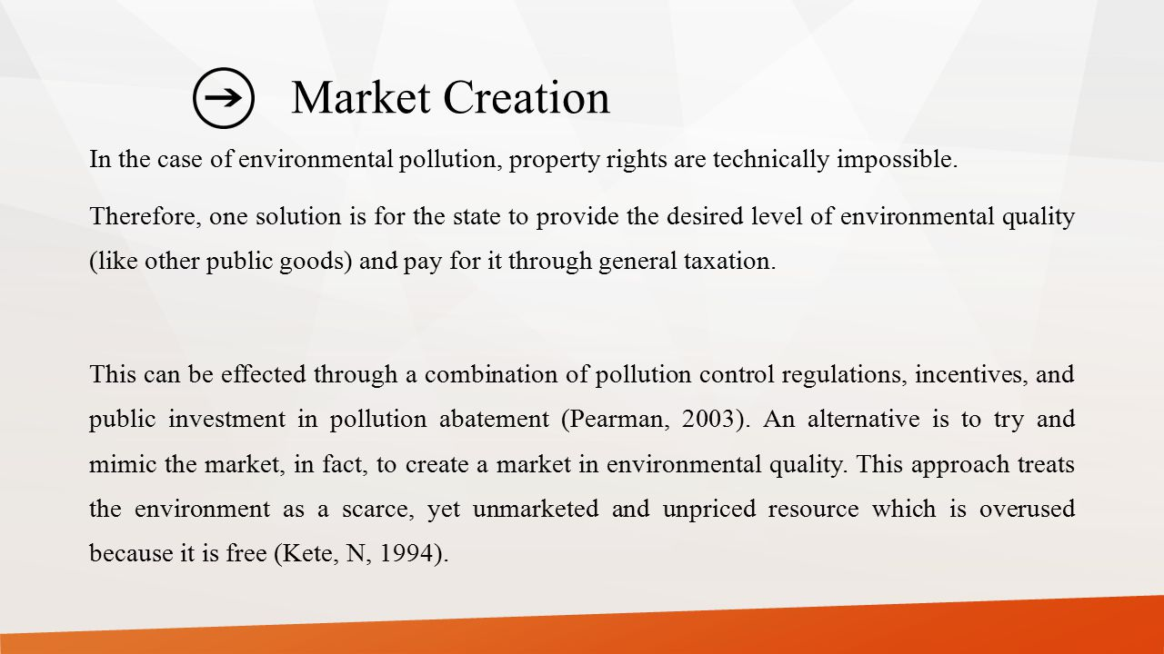 Market Creation In the case of environmental pollution, property rights are technically impossible. Therefore, one solution is for the state to provid