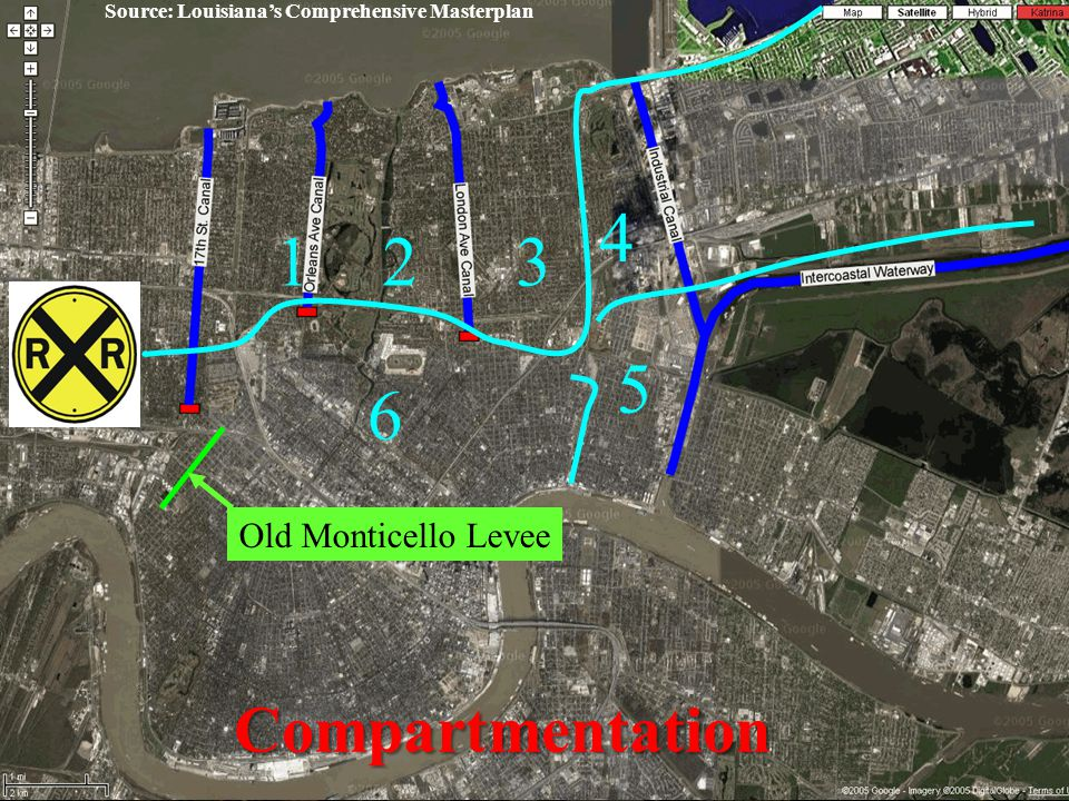 Bring New Orleans Back Infrastructure Committee Levees and Flood Protection January 18, 2006 46 123 4 5 Old Monticello Levee 6 Compartmentation Source: Louisiana's Comprehensive Masterplan