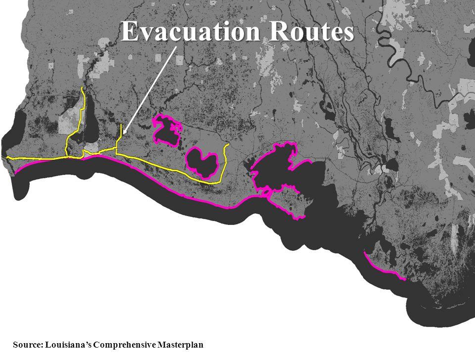 50 EvacuationRoutes Evacuation Routes Source: Louisiana's Comprehensive Masterplan