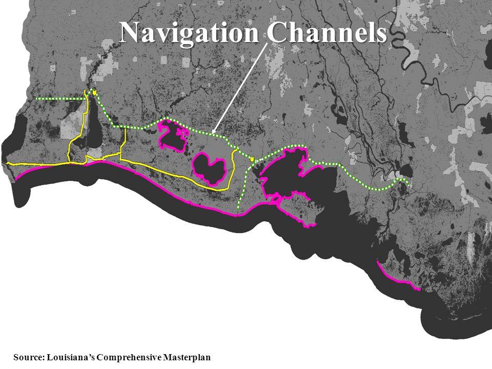 51 Navigation Channels Source: Louisiana's Comprehensive Masterplan
