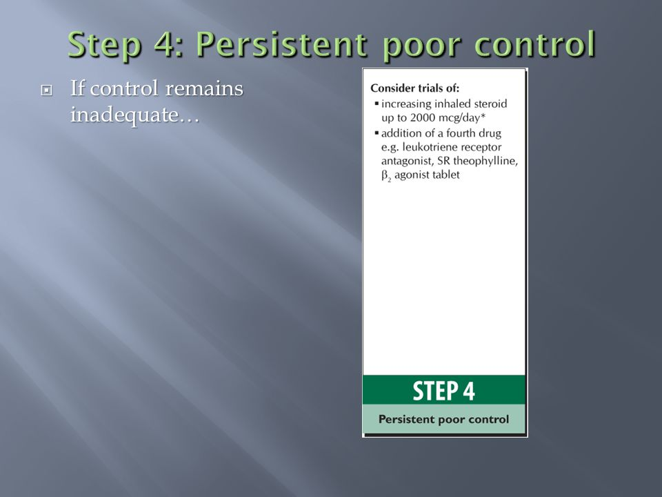  If control remains inadequate…