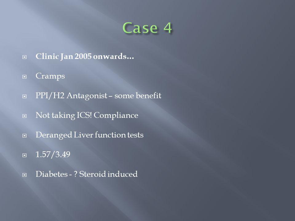  Clinic Jan 2005 onwards…  Cramps  PPI/H2 Antagonist – some benefit  Not taking ICS! Compliance  Deranged Liver function tests  1.57/3.49  Diab