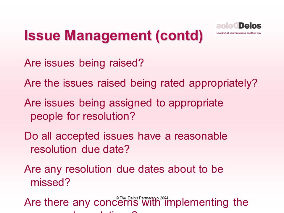 © The Delos Partnership 2004 Are issues being raised? Are the issues raised being rated appropriately? Are issues being assigned to appropriate people