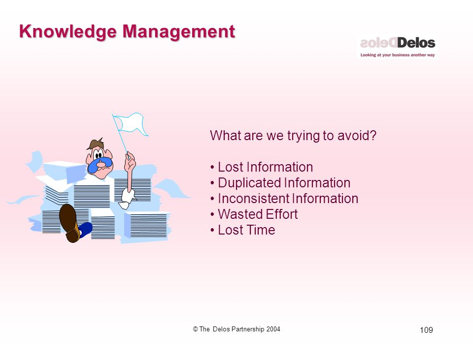 109 © The Delos Partnership 2004 Knowledge Management What are we trying to avoid? Lost Information Duplicated Information Inconsistent Information Wa