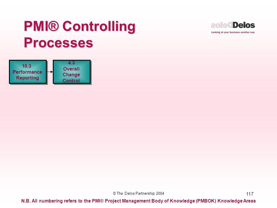 117 © The Delos Partnership 2004 PMI® Controlling Processes 10.3 Performance Reporting 10.3 Performance Reporting 4.3 Overall Change Control 4.3 Overa