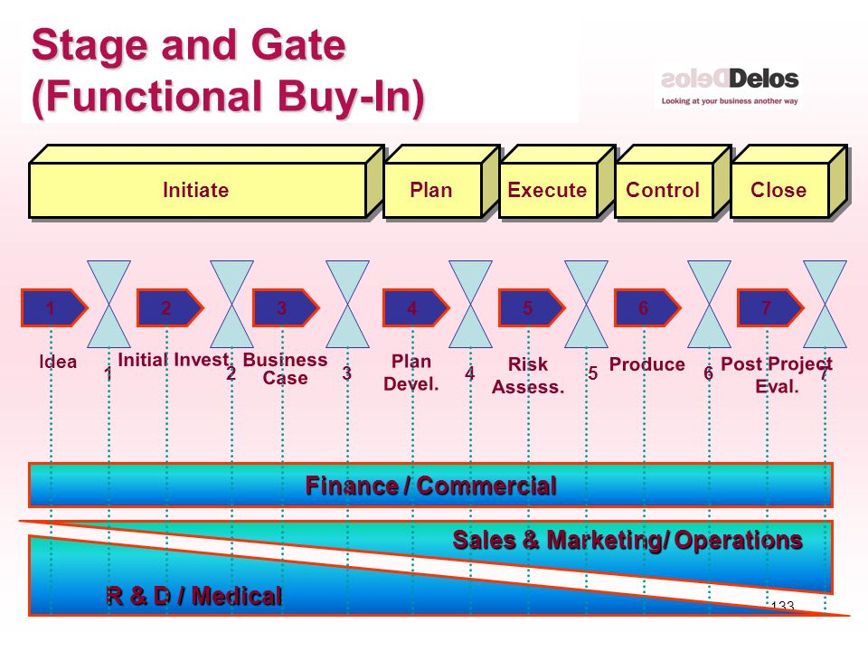 133 © The Delos Partnership 2004 Stage and Gate (Functional Buy-In) 126574 Idea Initial Invest. 12456 3 37 Business Case Plan Devel. Risk Assess. Prod