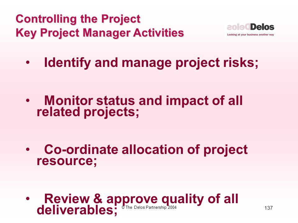 137 © The Delos Partnership 2004 Controlling the Project Key Project Manager Activities Identify and manage project risks; Monitor status and impact o