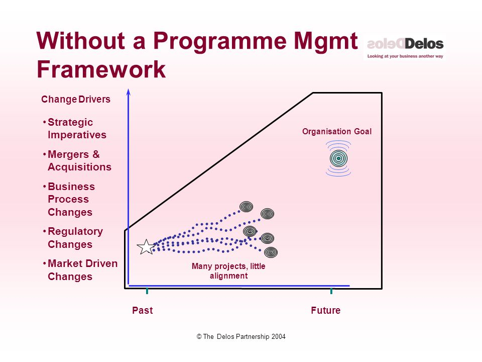 © The Delos Partnership 2004 Without a Programme Mgmt Framework Strategic Imperatives Mergers & Acquisitions Business Process Changes Regulatory Chang
