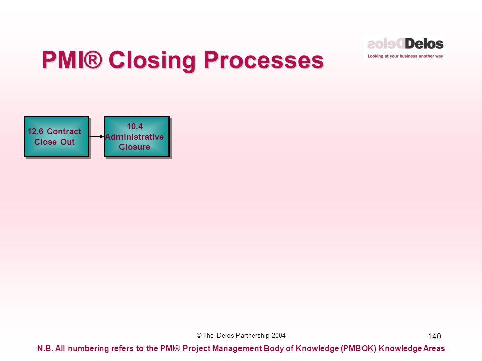 140 © The Delos Partnership 2004 PMI® Closing Processes 12.6 Contract Close Out 12.6 Contract Close Out 10.4 Administrative Closure 10.4 Administrativ