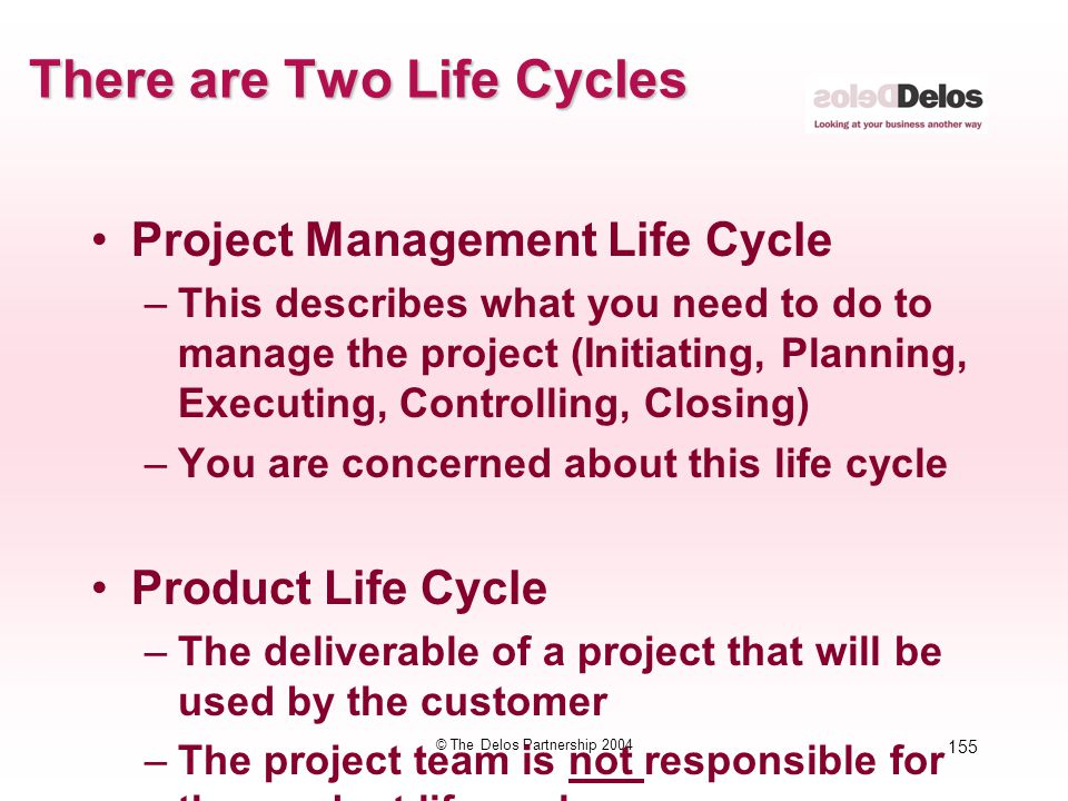 155 © The Delos Partnership 2004 There are Two Life Cycles Project Management Life Cycle –This describes what you need to do to manage the project (In