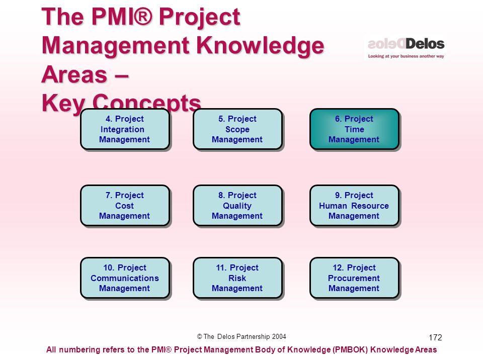172 © The Delos Partnership 2004 The PMI® Project Management Knowledge Areas – Key Concepts All numbering refers to the PMI® Project Management Body o