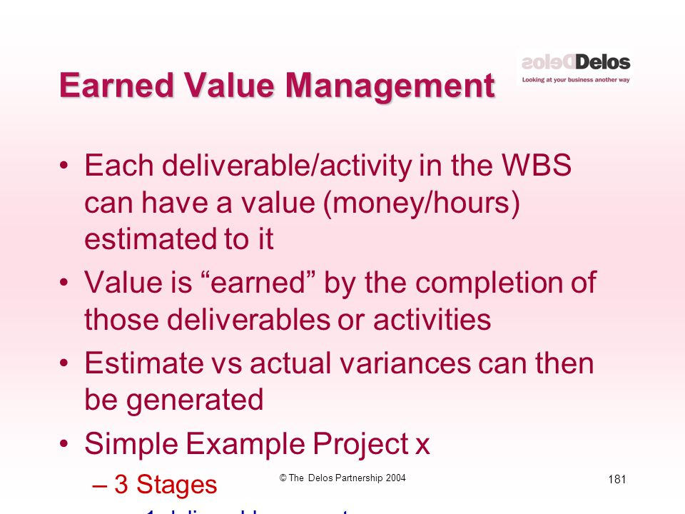 181 © The Delos Partnership 2004 Earned Value Management Each deliverable/activity in the WBS can have a value (money/hours) estimated to it Value is