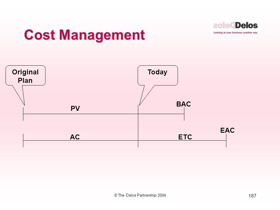 187 © The Delos Partnership 2004 Cost Management PV AC ETC EAC BAC TodayOriginal Plan