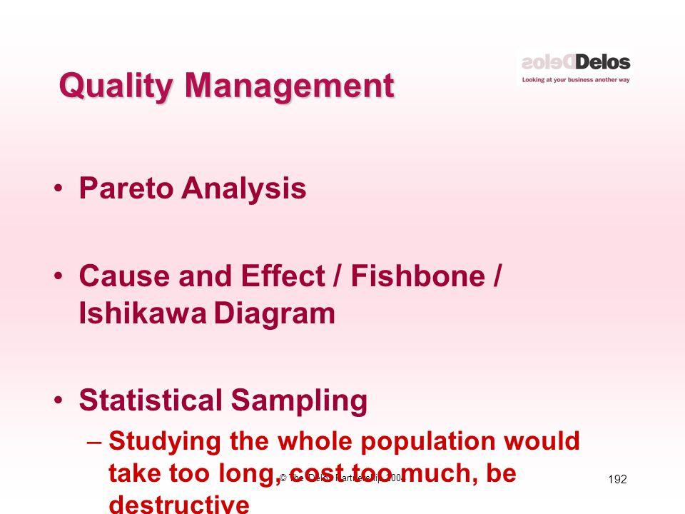 192 © The Delos Partnership 2004 Quality Management Pareto Analysis Cause and Effect / Fishbone / Ishikawa Diagram Statistical Sampling –Studying the