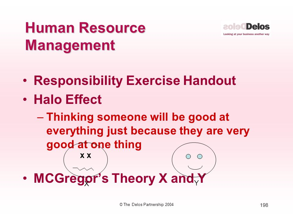 198 © The Delos Partnership 2004 Human Resource Management Responsibility Exercise Handout Halo Effect –Thinking someone will be good at everything ju