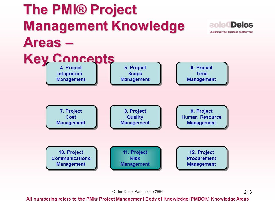 213 © The Delos Partnership 2004 The PMI® Project Management Knowledge Areas – Key Concepts All numbering refers to the PMI® Project Management Body o