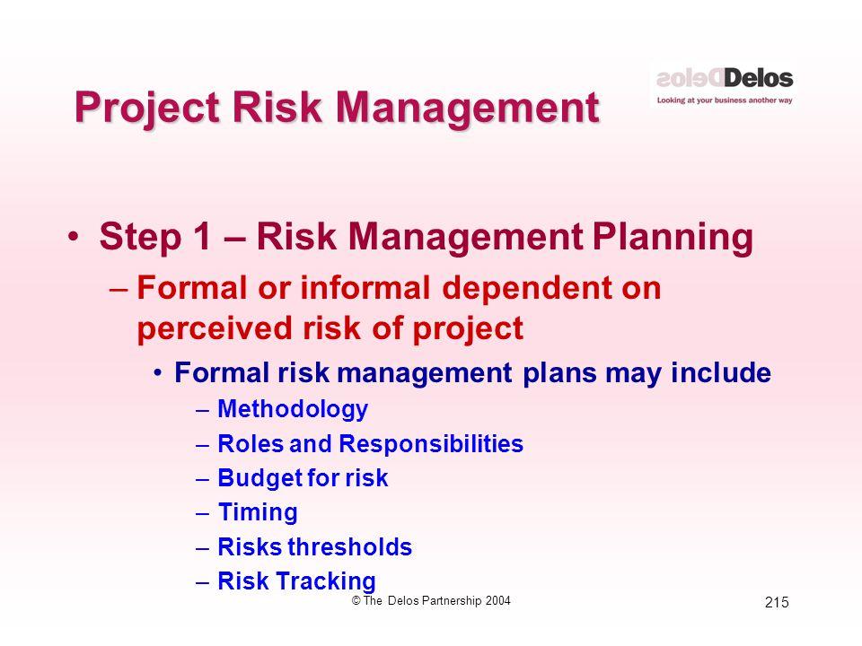 215 © The Delos Partnership 2004 Project Risk Management Step 1 – Risk Management Planning –Formal or informal dependent on perceived risk of project