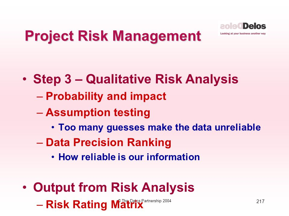 217 © The Delos Partnership 2004 Project Risk Management Step 3 – Qualitative Risk Analysis –Probability and impact –Assumption testing Too many guess