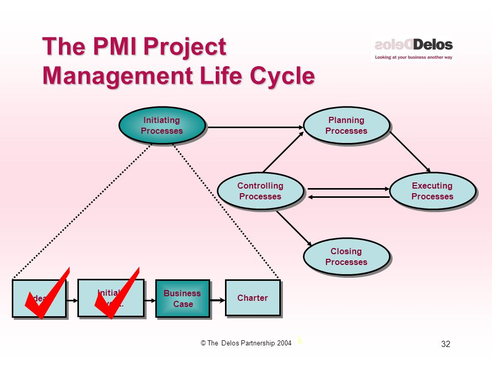32 © The Delos Partnership 2004 The PMI Project Management Life Cycle Initiating Processes Initiating Processes Planning Processes Planning Processes