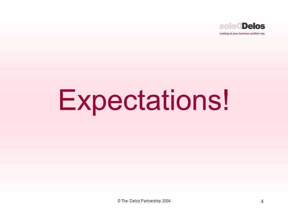 4 © The Delos Partnership 2004 Expectations!