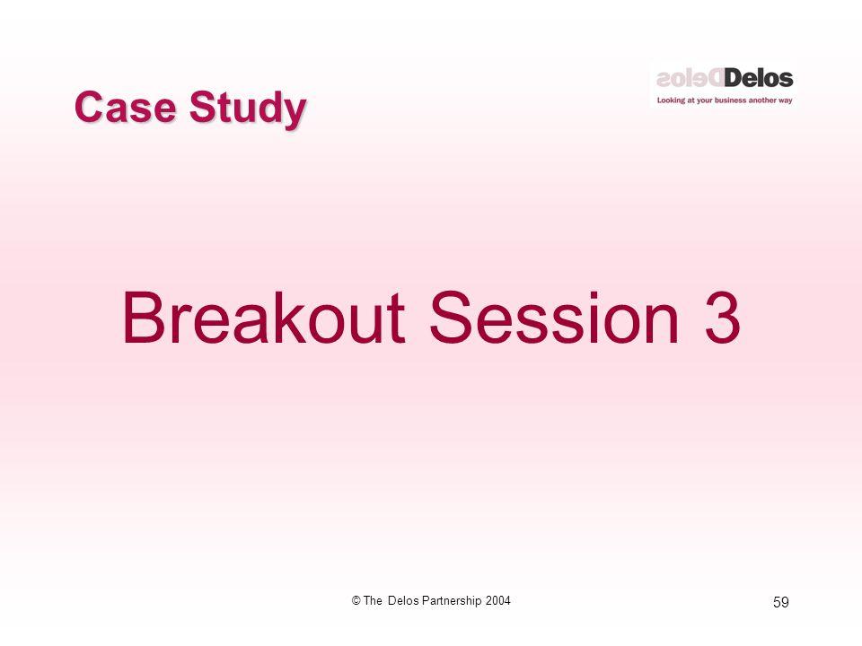 59 © The Delos Partnership 2004 Case Study Breakout Session 3