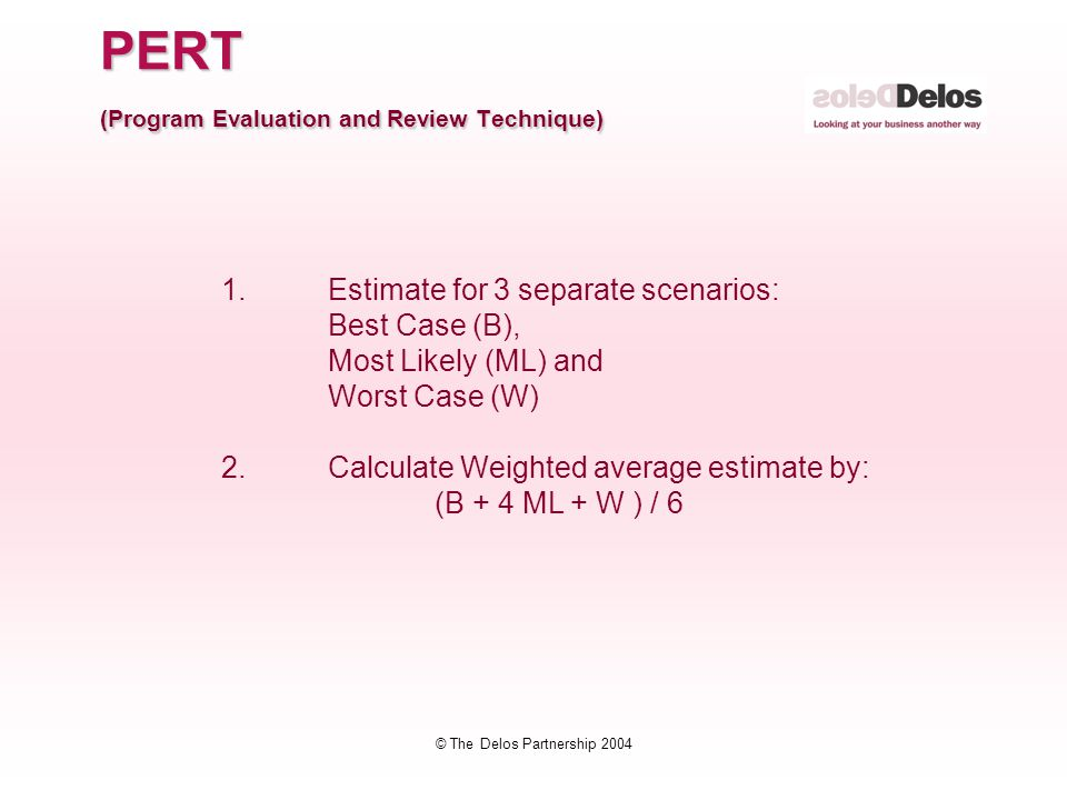 © The Delos Partnership 2004 PERT (Program Evaluation and Review Technique) 1. Estimate for 3 separate scenarios: Best Case (B), Most Likely (ML) and