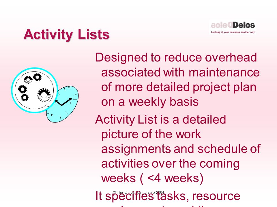 © The Delos Partnership 2004 Designed to reduce overhead associated with maintenance of more detailed project plan on a weekly basis Activity List is