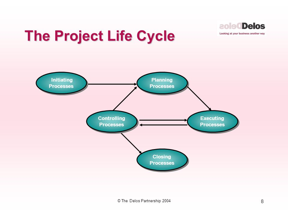 99 © The Delos Partnership 2004 The PMI® Project Management Life Cycle Initiating Processes Initiating Processes Planning Processes Planning Processes Controlling Processes Controlling Processes Closing Processes Closing Processes Executing Processes Executing Processes