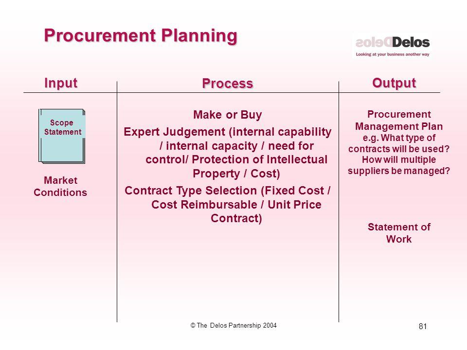 81 © The Delos Partnership 2004 InputOutput Process Make or Buy Expert Judgement (internal capability / internal capacity / need for control/ Protecti