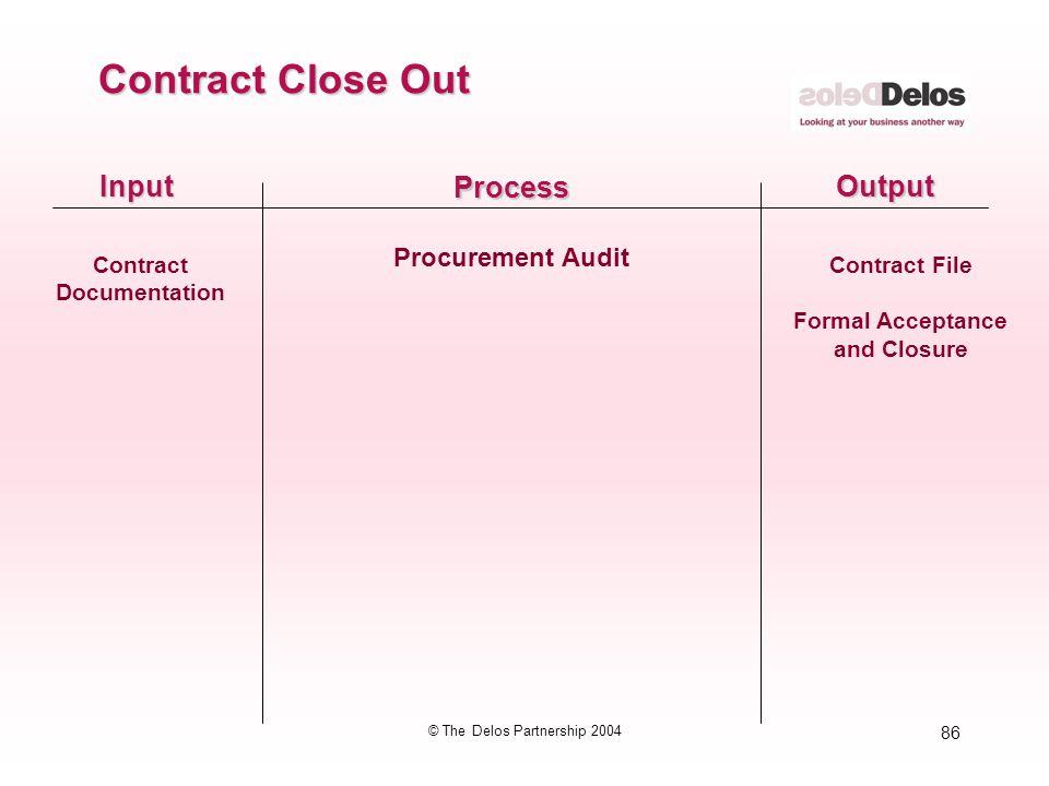 86 © The Delos Partnership 2004 InputOutput Process Procurement Audit Contract Close Out Contract Documentation Contract File Formal Acceptance and Cl