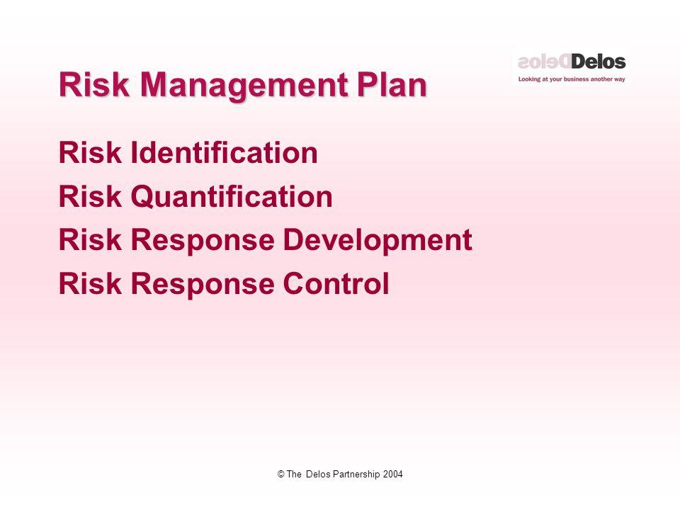 © The Delos Partnership 2004 Risk Management Plan Risk Identification Risk Quantification Risk Response Development Risk Response Control