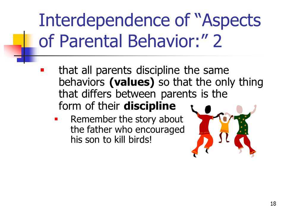 17 Interdependence of Aspects of Parental Behavior: 1 To talk about the affects of each aspect independent of the other factors clearly does an injustice.E.g., a focus on the effects of discipline may convey the notion  that the kind of discipline is far more important than the behaviors which are disciplined (value) Nevertheless, there is evidence that induction produces better child outcomes than does power assertion or love withdrawal Extrinsic rewards can under-mind behaviors (Mark Lepper)