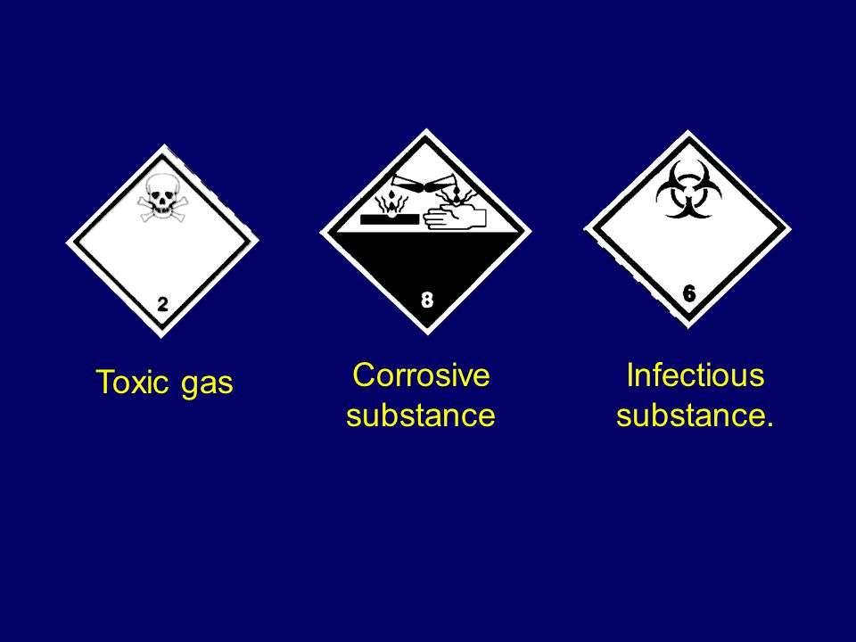 Toxic gas Infectious substance. Corrosive substance