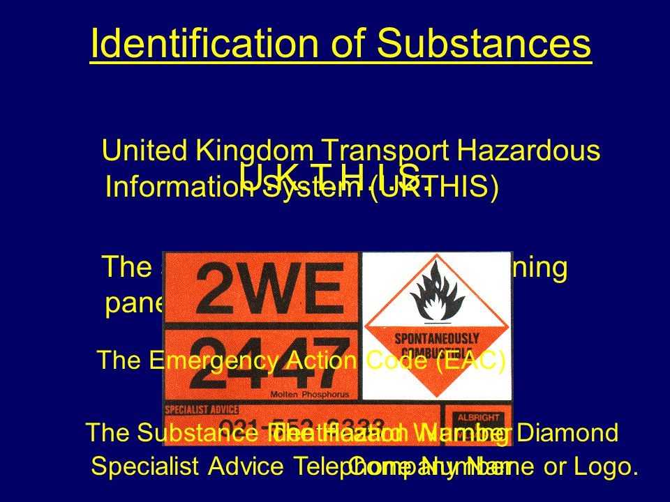 Identification of Substances United Kingdom Transport Hazardous Information System (UKTHIS) The system comprises of a warning panel with five sections; The Emergency Action Code (EAC) The Substance Identification NumberThe Hazard Warning Diamond Specialist Advice Telephone NumberCompany Name or Logo.