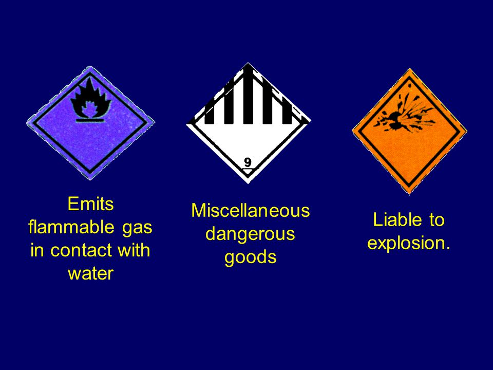 Mixed substance loads. Danger signs & subsidiary danger signs (if any)