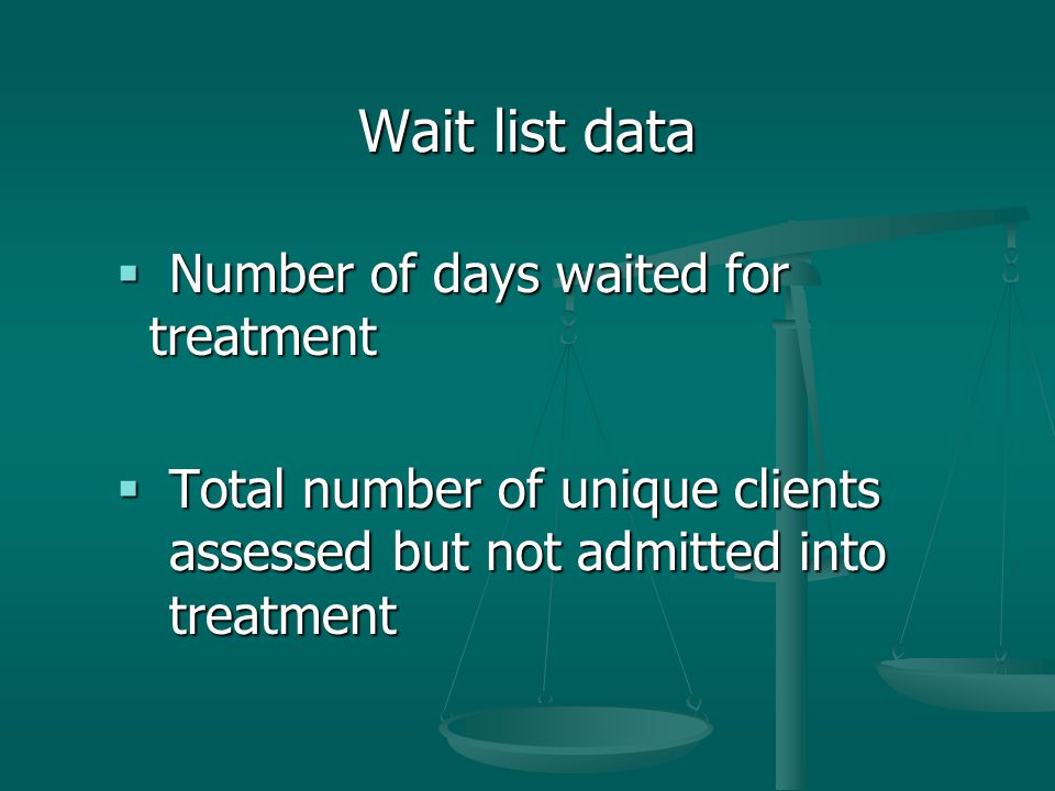 Wait list data  Number of days waited for treatment  Total number of unique clients assessed but not admitted into treatment