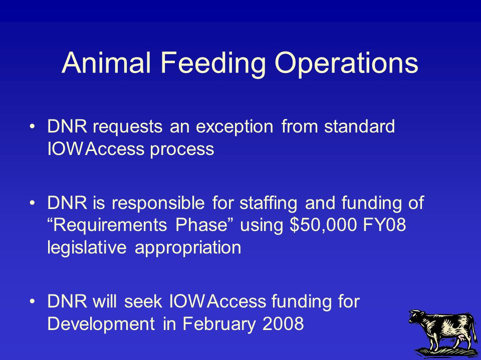Animal Feeding Operations DNR requests an exception from standard IOWAccess process DNR is responsible for staffing and funding of Requirements Phase using $50,000 FY08 legislative appropriation DNR will seek IOWAccess funding for Development in February 2008