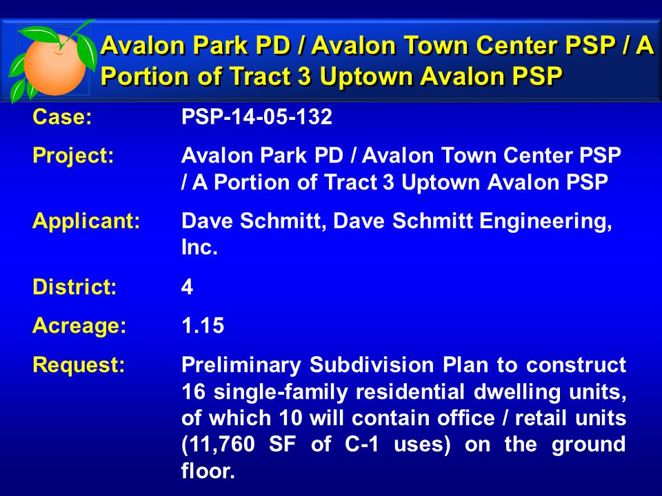 Zoning Map Avalon Park PD / Avalon Town Center PSP / A Portion of Tract 3 Uptown Avalon PSP Zoning Map