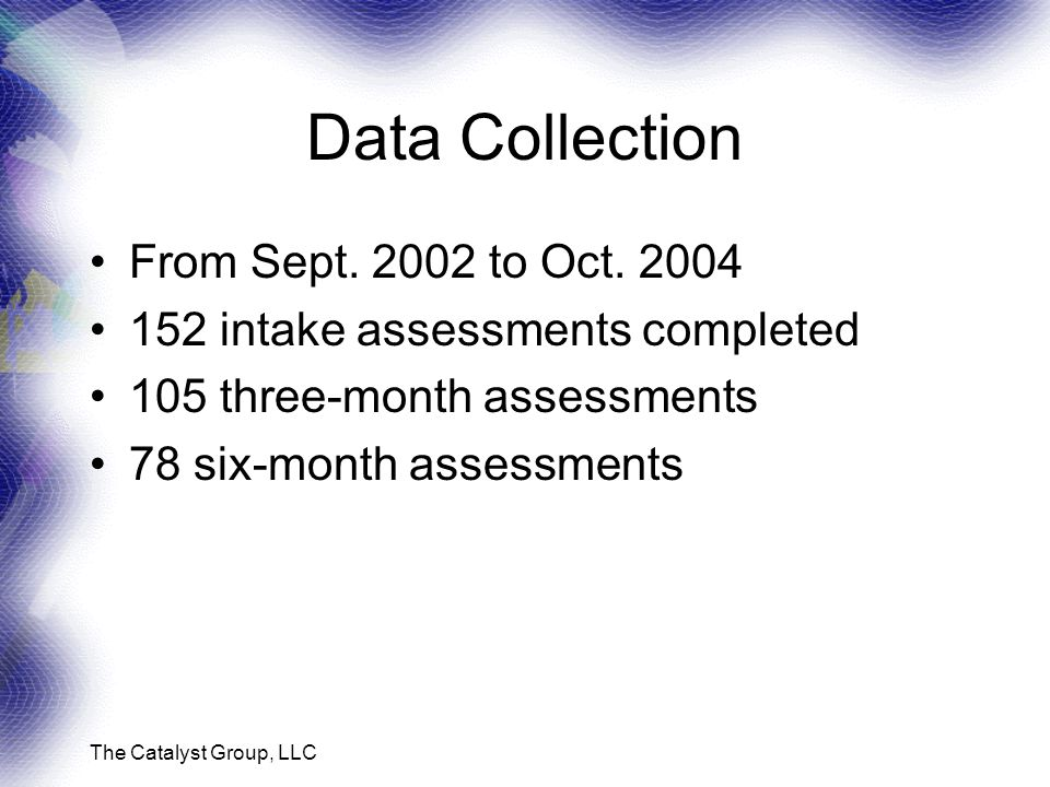 The Catalyst Group, LLC Data Collection From Sept.
