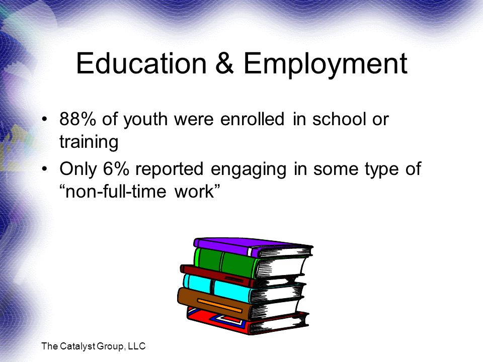 The Catalyst Group, LLC Education & Employment 88% of youth were enrolled in school or training Only 6% reported engaging in some type of non-full-time work