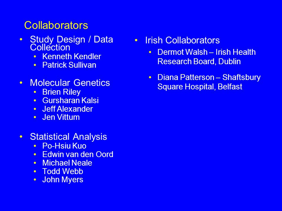 Collaborators Study Design / Data Collection Kenneth Kendler Patrick Sullivan Molecular Genetics Brien Riley Gursharan Kalsi Jeff Alexander Jen Vittum Statistical Analysis Po-Hsiu Kuo Edwin van den Oord Michael Neale Todd Webb John Myers Irish Collaborators Dermot Walsh – Irish Health Research Board, Dublin Diana Patterson – Shaftsbury Square Hospital, Belfast