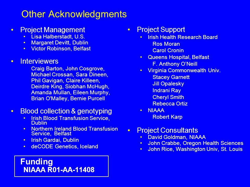 Other Acknowledgments Project Management Lisa Halberstadt, U.S.