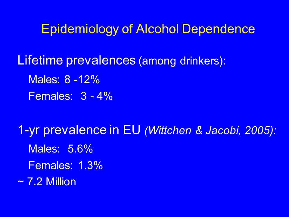 Epidemiology of Alcohol Dependence Lifetime prevalences (among drinkers): Males: 8 -12% Females: 3 - 4% 1-yr prevalence in EU (Wittchen & Jacobi, 2005): Males: 5.6% Females: 1.3% ~ 7.2 Million