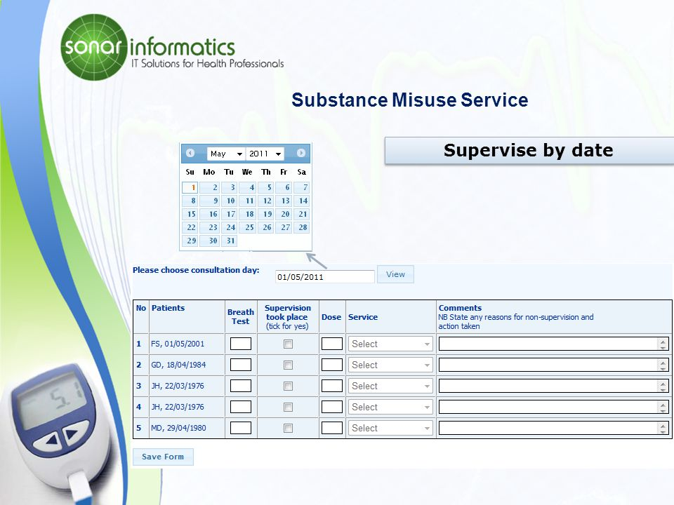 Substance Misuse Service Submit New record – Calendar View