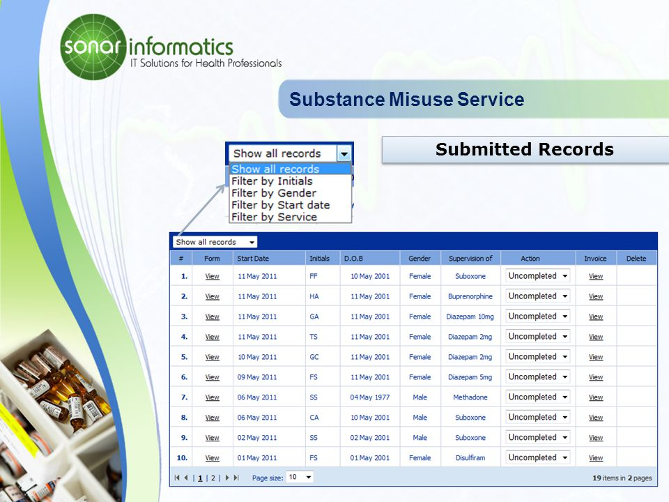 Substance Misuse Service Supervise by date
