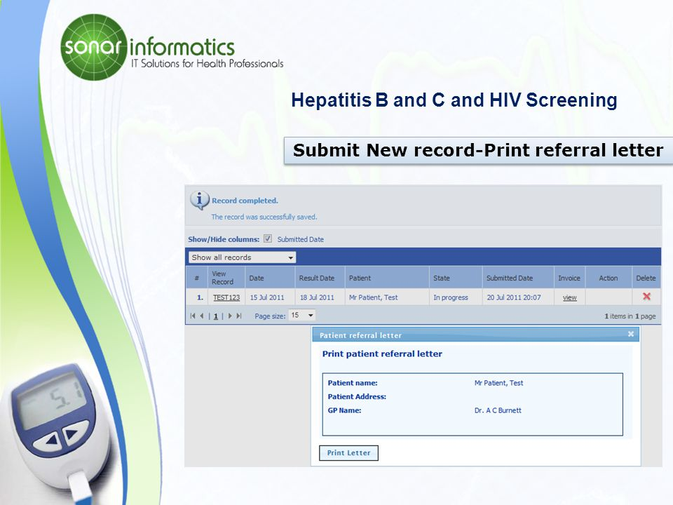 Hepatitis B and C and HIV Screening Submit New record – Test Result